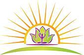 Sun, lotus and yoga figure