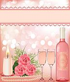 festive background with rose, pearl candle and goblet.