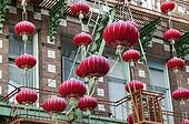 garlands of red Chinese lanterns
