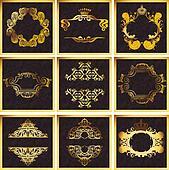 Decorative Golden Vector Ornate Quad Frames