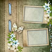 Two frames on vintage background