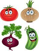 Funny cartoon cute vegetables 1