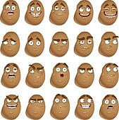 cute cartoon potatoes smiles