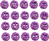 cute cartoon purple cabbage smiles