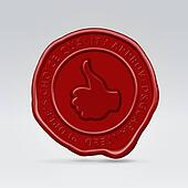 Red sealing wax approved stamp print