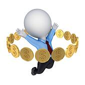 Golden coins around happy 3d small person.
