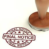 Final Notice Stamp Showing Outstanding Payment Due