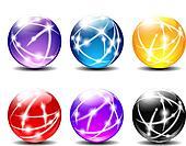 Six Spheres Balls illustration with