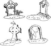 scary tombstones in Halloween night