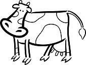 cartoon doodle of farm cow for coloring