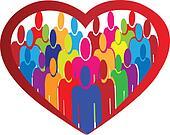 Diversity people heart logo vector