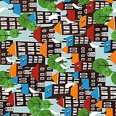 Christmas town seamless cartoon pattern