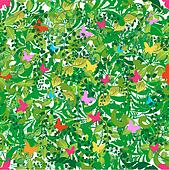 Green floral spring and summer pattern