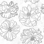 Hand drawn floral wallpaper with poppy flowers