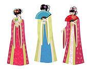 Beautiful Asian girls in costumes