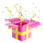 Holiday gift box with confetti and serpentine