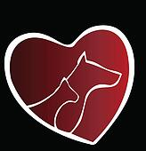 Cat and dog heart silhouette logo