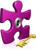 Lock and key jigsaw piece