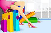 Lady doing Shopping in Sale
