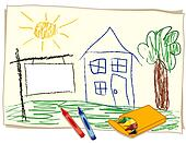 Blank Real Estate Sign, Crayon