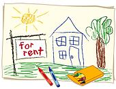 For Rent Real Estate Sign, Crayon