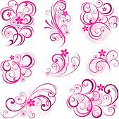 Pink abstract scroll flowers background