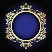 old ornate frame on blue
