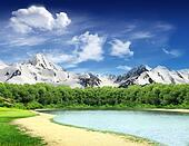 Landscape with lake and mountains