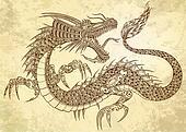 Henna Tattoo Dragon Doodle vector