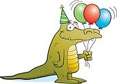 Party Alligator on White Background