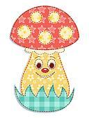 Cartoon patchwork mushroom 2