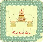 Vintage Menu Card Design with chef, birthday card