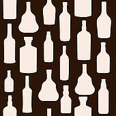 vector illustration silhouette alcohol bottle seamless pattern