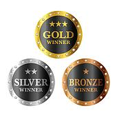 Gold, silver and bronze winner meda