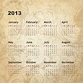 New year calendar 2013