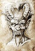 Sketch of tattoo art, devil head, gothic, vintage style