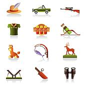 Hunting accessories and symbols