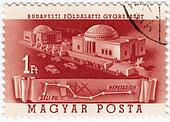 HUNGARY - CIRCA 1952: Stamp printed in Hungary shows subway building in Budapest, circa 1952