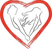 Silhouette of couple shaped heart