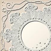 crochet doily with pearl necklace