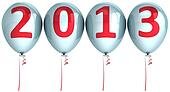New Year 2013 helium balloons white