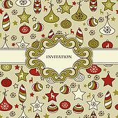 Vector Seamless Christmas Pattern with Frame