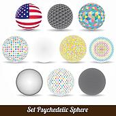 set vector color psychedelic sphere