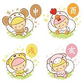 Sleeping Chickens and Monkey, Dream of Dogs and Pigs Mascot. The East Twelve zodiac Character Design Series.