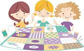 Sewing Bee with three Girls