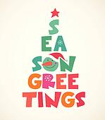 Christmas tree with season greetings cute cutout text