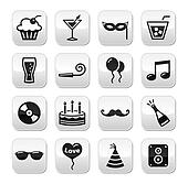 Party buttons set