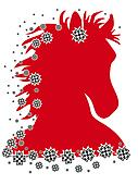 Red horse after riding illustration with pattern