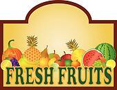 Fresh Fruits Stand Signage Illustration