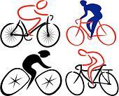 cyclist, bicyclist - silhouettes